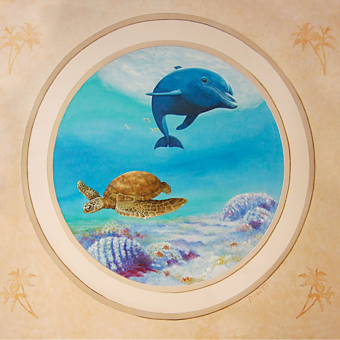 Trompe-l'œil dans un institut de beauté- Un Air Marin à Obernai. Fresque de Roland Perret. illusions-murales.com