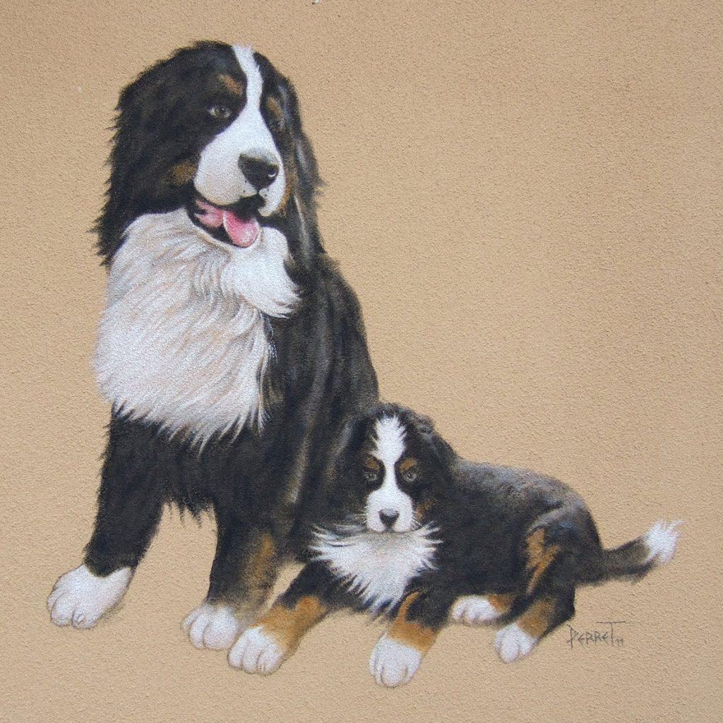 Peinture murale de bouviers, portrait animalier. Fresque de Roland Perret  illusions-murales.com