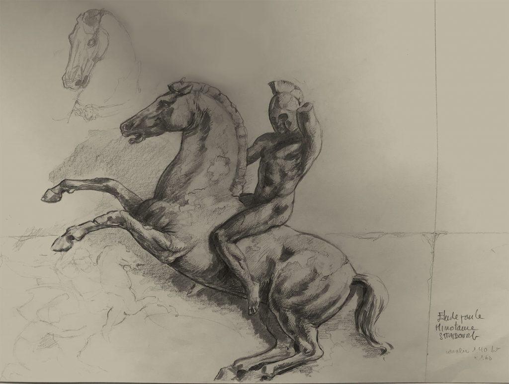 Dessin du cavalier pour le Minotaure, la cafétéria pour les étudiants de Strasbourg. Fresque de Roland Perret  illusions-murales.com