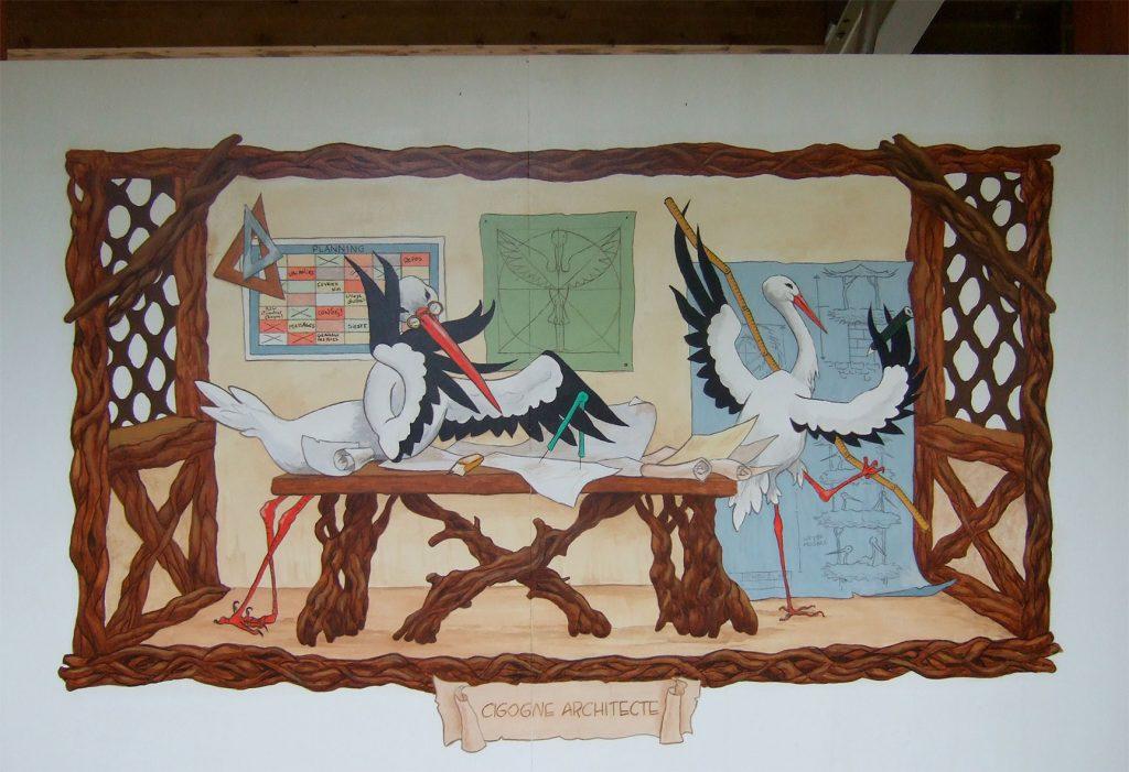 Cigognes architectes. Décors à Cigoland. Fresques de Roland Perret  illusions-murales.com