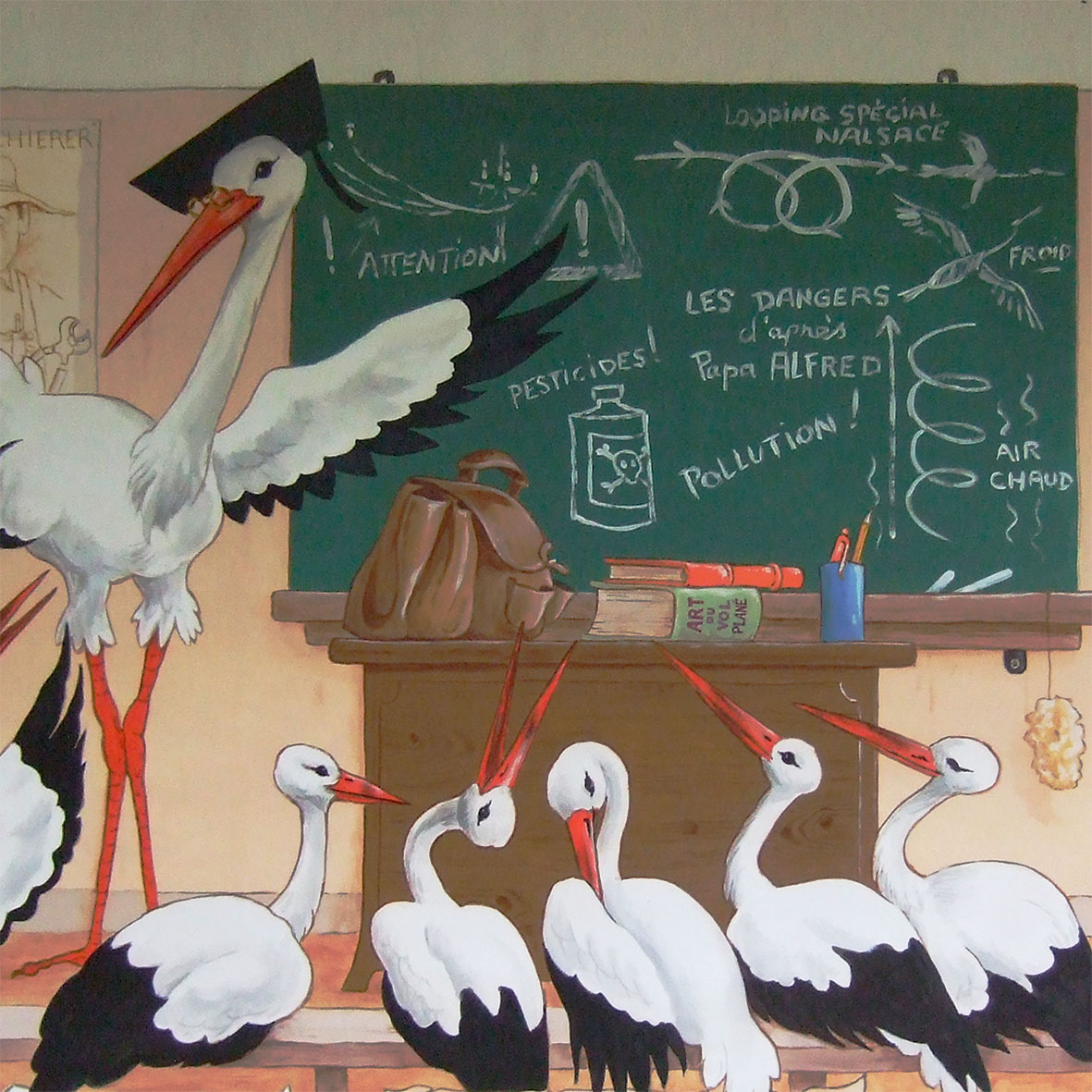Décors de cigognes à Cigoland. Fresques de Roland Perret illusions-murales.com