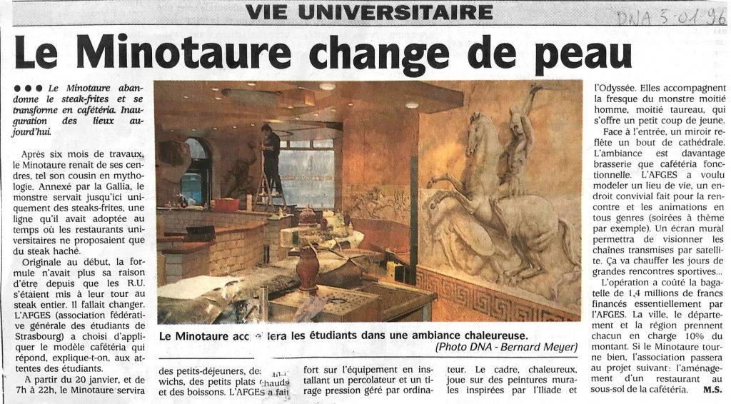 Article DNA sur le Minotaure, cafétéria pour les étudiants de Strasbourg. Fresque de Roland Perret  illusions-murales.com