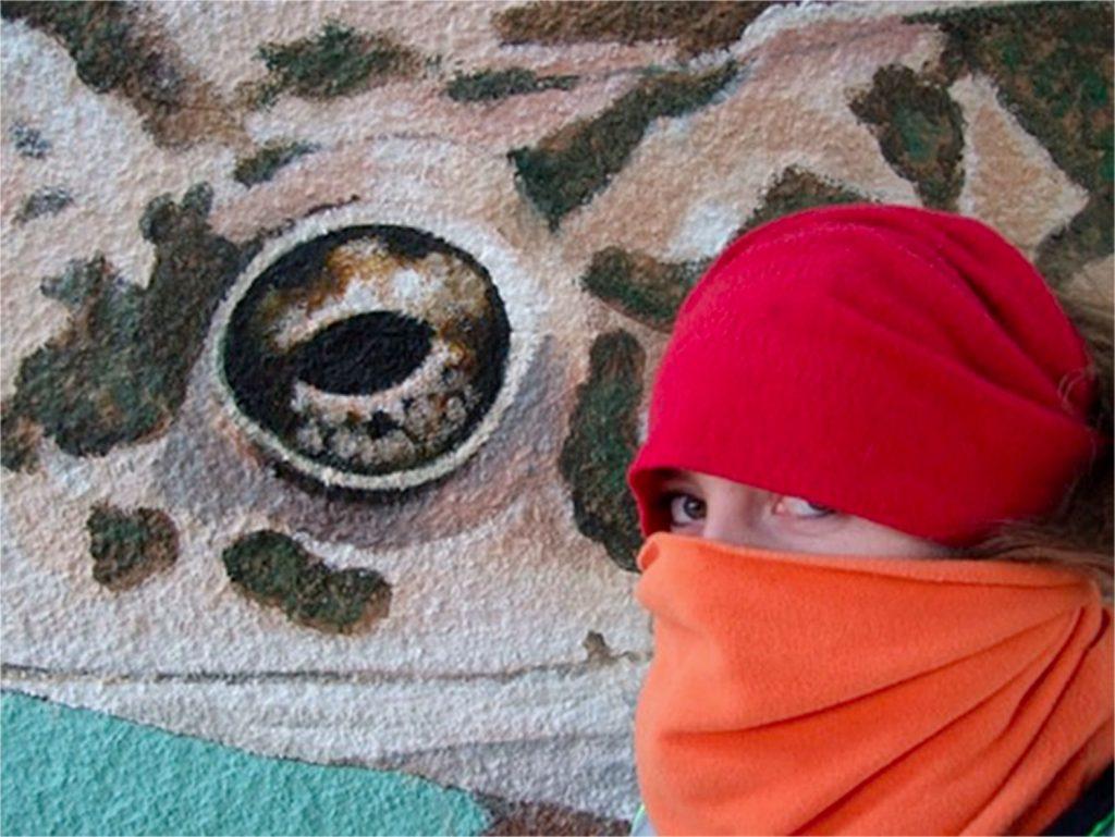 Crapaud géant et Sourya Perret. Sous le pont de la gare de Duppigheim. Fresque de Roland Perret. illusions-murales.com
