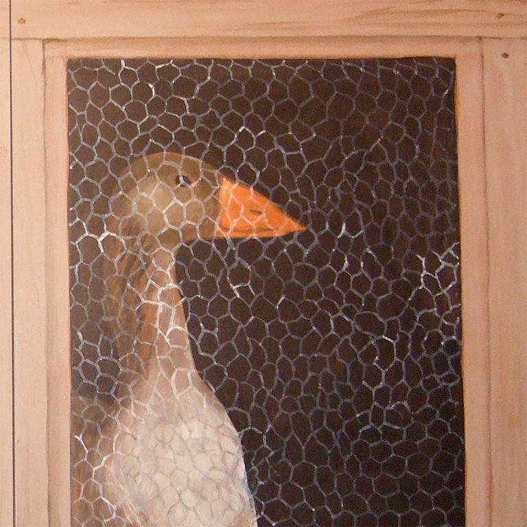 Oie. Décoration en trompe-l'œil de placard.par Roland Perret fresquiste. https://illusions-murales.com