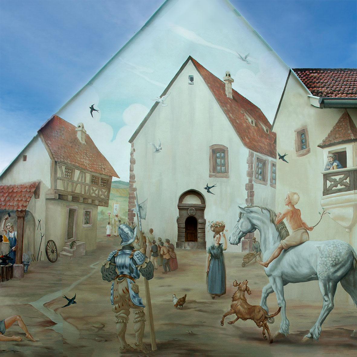 Fresque historique à Hochfelden de Roland Perret. illusions-murales.com