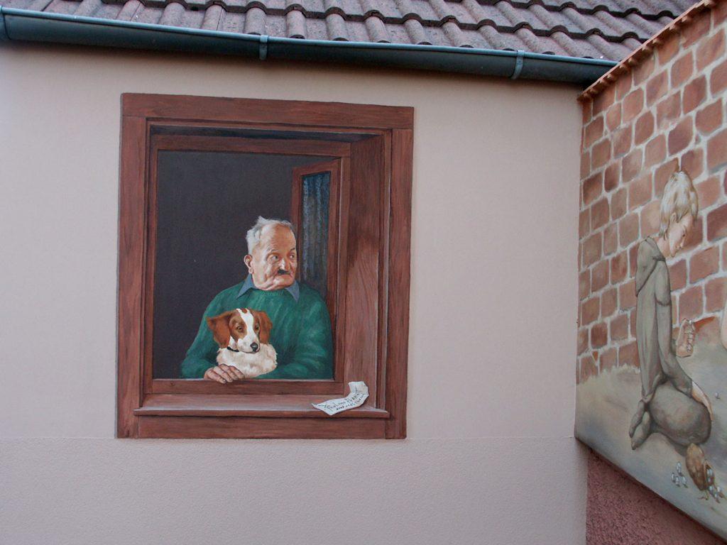 Portrait du voisin.Fresque Renaissance à Hochfelden (Alsace). Fresque de Roland Perret. illusions-murales.com