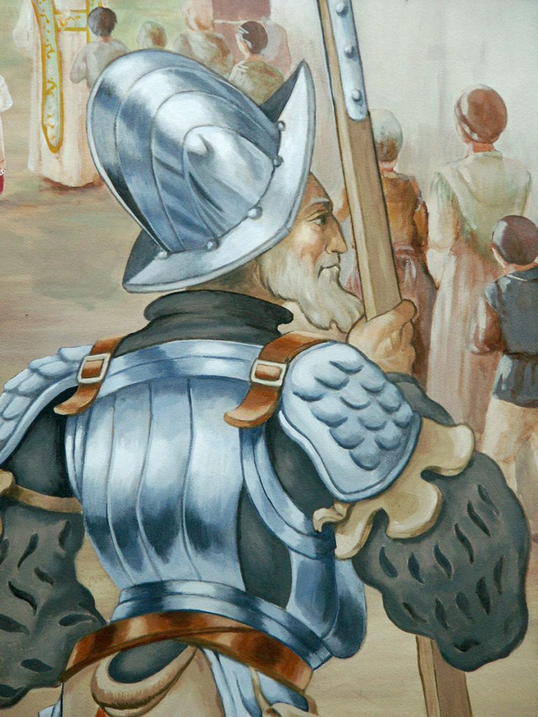 Lansquenet. Fresque Renaissance à Hochfelden (Alsace). Fresque de Roland Perret. illusions-murales.com