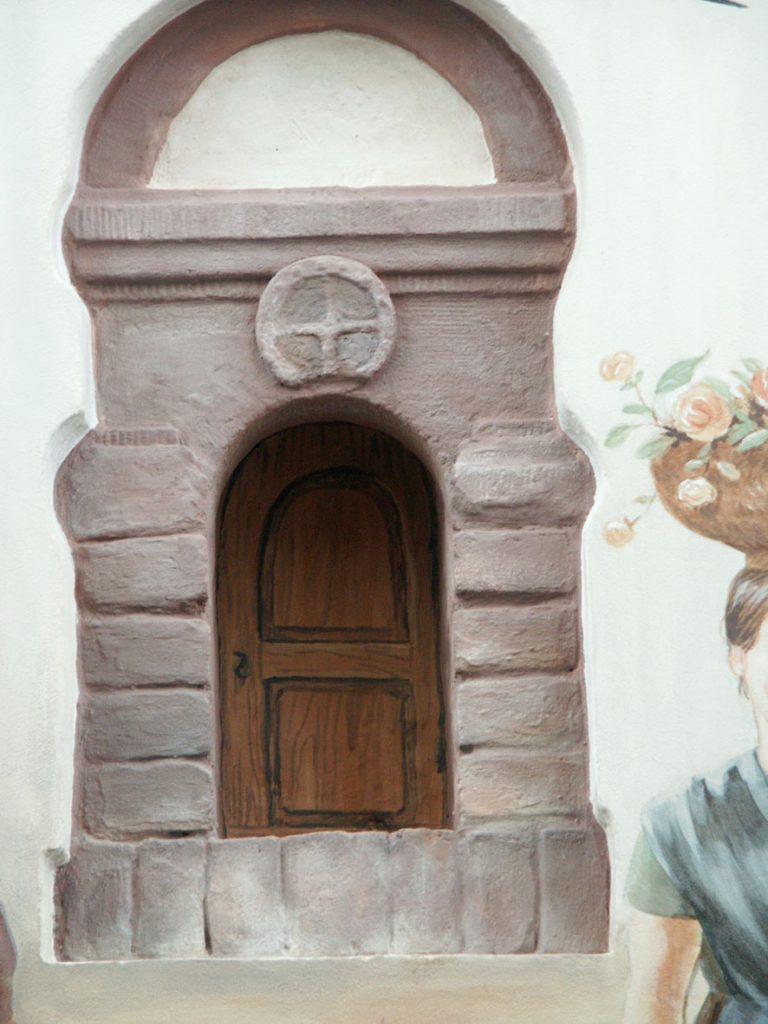Détail du trompe l'œil de la niche de la fresque Renaissance à Hochfelden (Alsace). Fresque de Roland Perret. illusions-murales.com