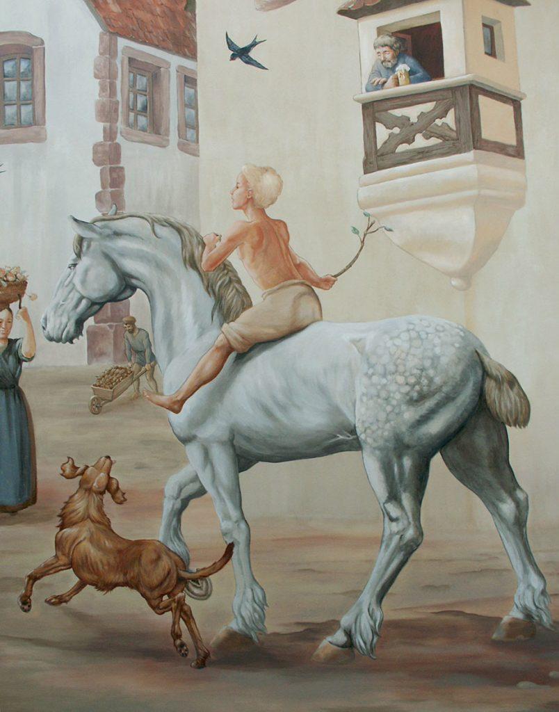 Cavalier. Fresque Renaissance à Hochfelden (Alsace). Fresque de Roland Perret. illusions-murales.com