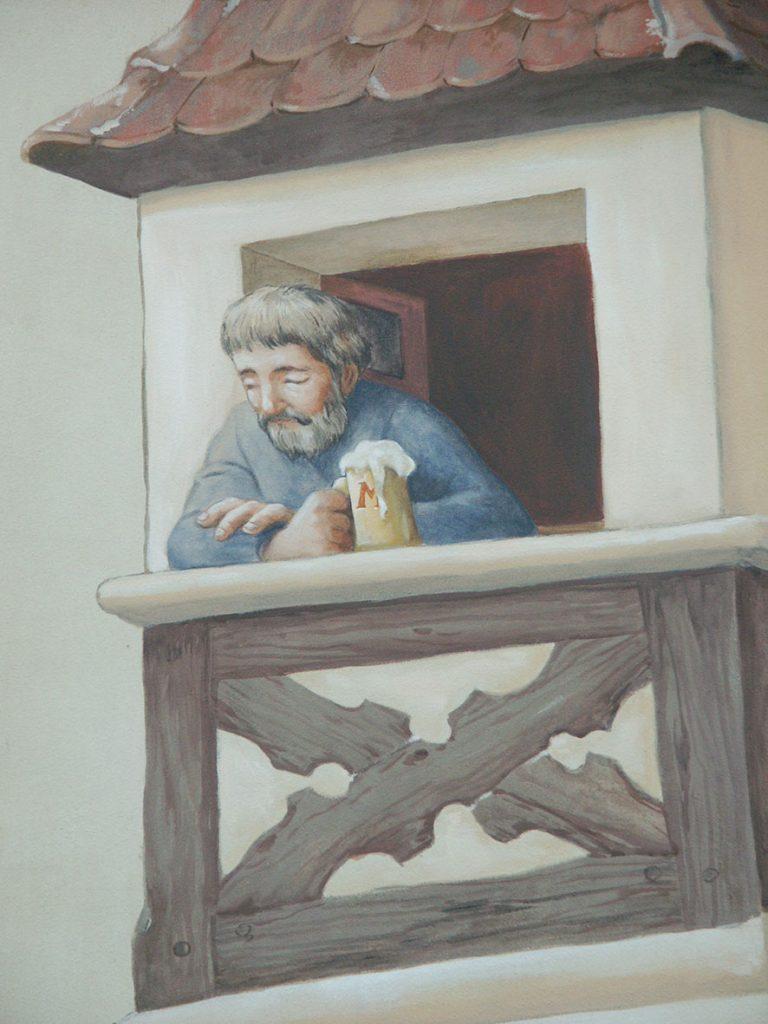Buveur de bière Météor. Fresque Renaissance à Hochfelden (Alsace). Fresque de Roland Perret. illusions-murales.com