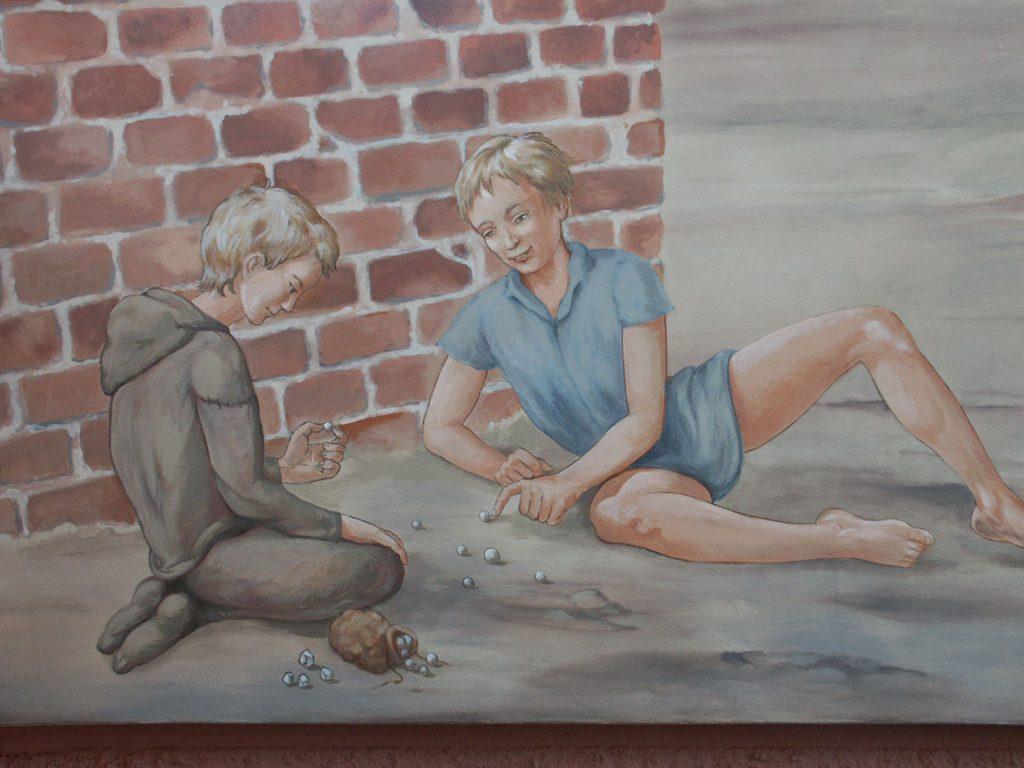 Partie de billes. Fresque Renaissance à Hochfelden (Alsace). Fresque de Roland Perret. illusions-murales.com