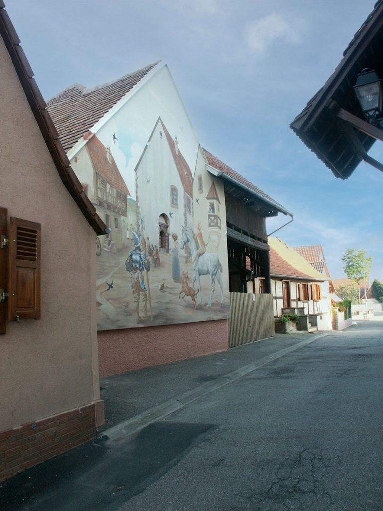 Fresque Renaissance à Hochfelden (Alsace). Fresque de Roland Perret. illusions-murales.com