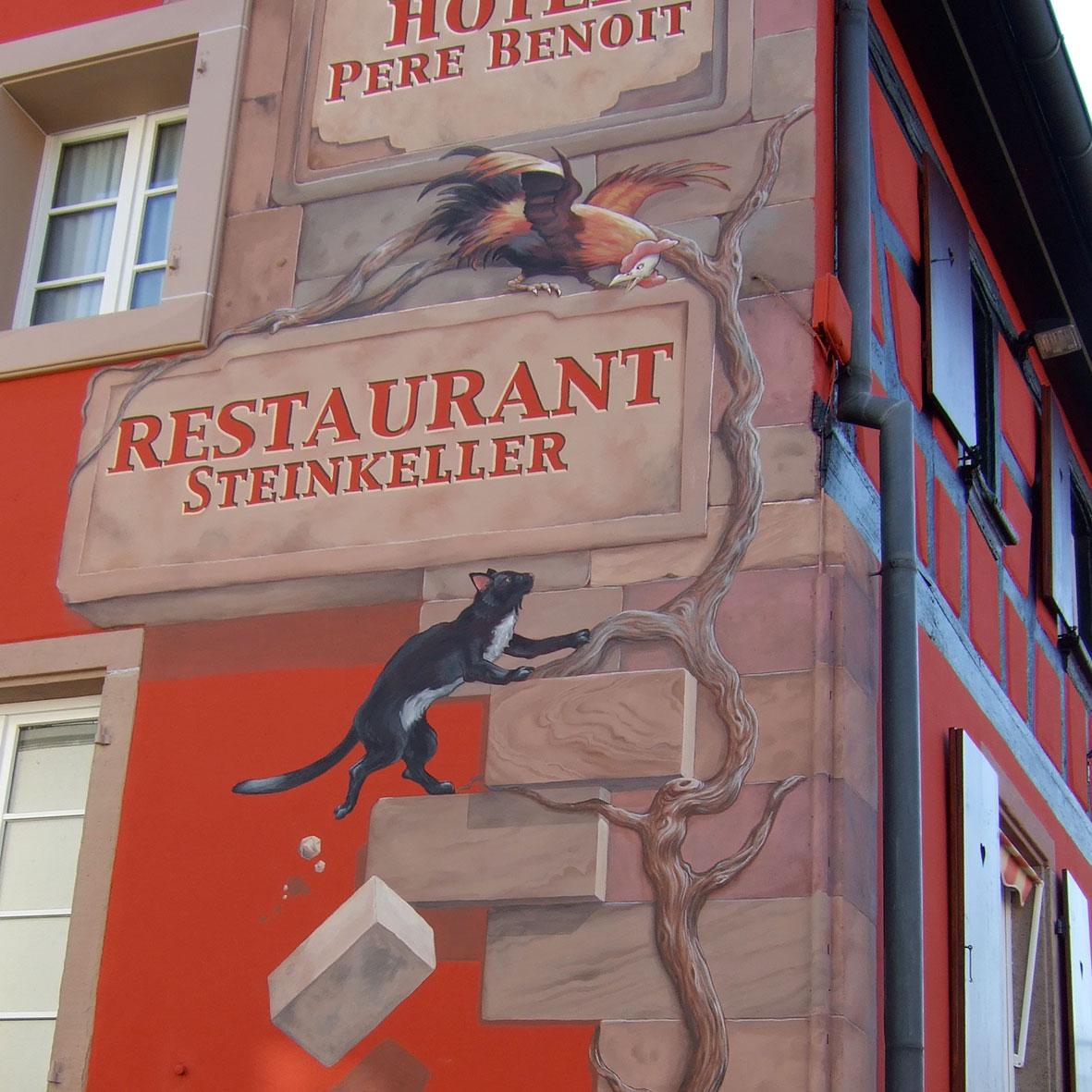 Hôtel Père Benoit, Steinkeller à Entzheim. Fresque de Roland Perret. illusions-murales.com