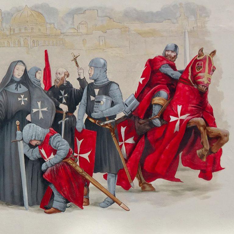 Fresque par Roland Perret. La commanderie des chevaliers de Malte à la Nef des Jouets, Soultz. illusions-murales.com