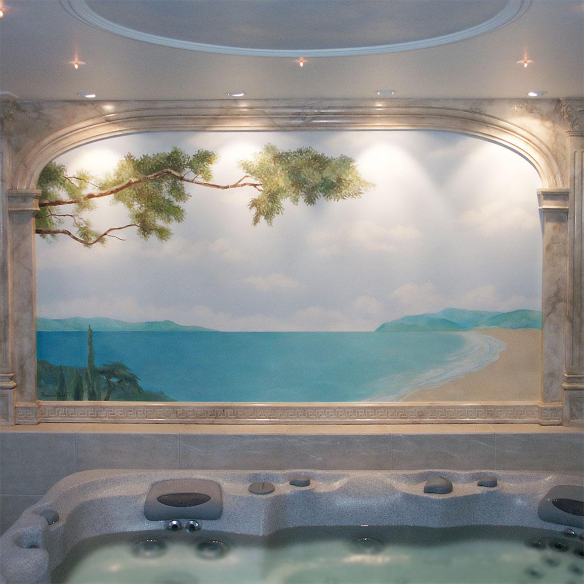 Trompe-l'œil dans une salle d'eau. Fresque de Roland Perret. illusions-murales.com