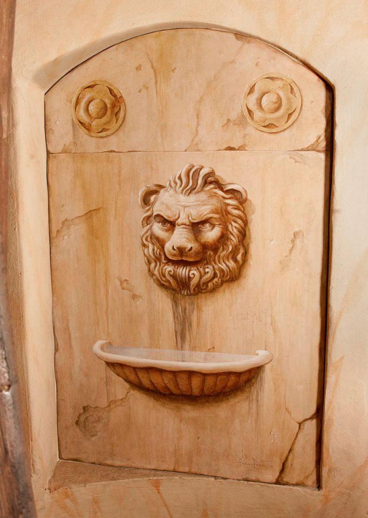 Fontaine au lion peinte dans l'Escalade d'Illusions à la Maison Kammerzell. Fresque de Roland Perret. illusions-murales.com
