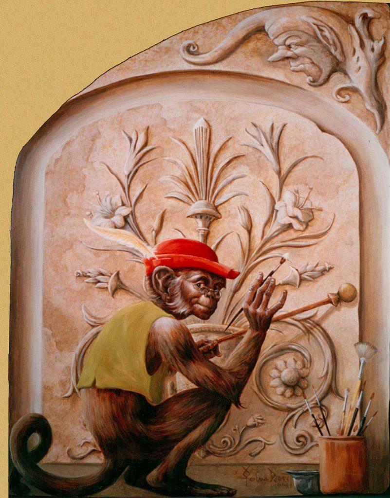 Le singe de l'escalade d'Illusions à la Maison Kammerzell. Fresque de Roland Perret. illusions-murales.com