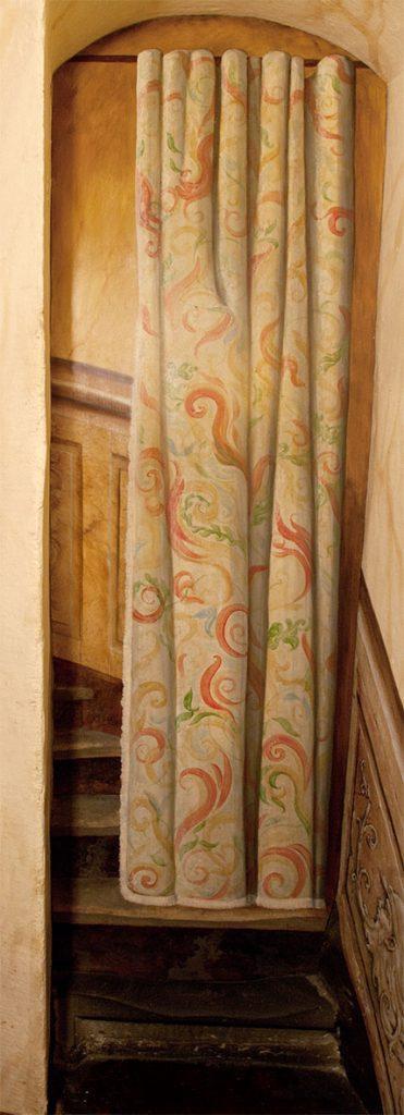 Trompe-l'oeil peint dans l'escalade d'Illusions à la Maison Kammerzell. Fresque de Roland Perret. illusions-murales.com