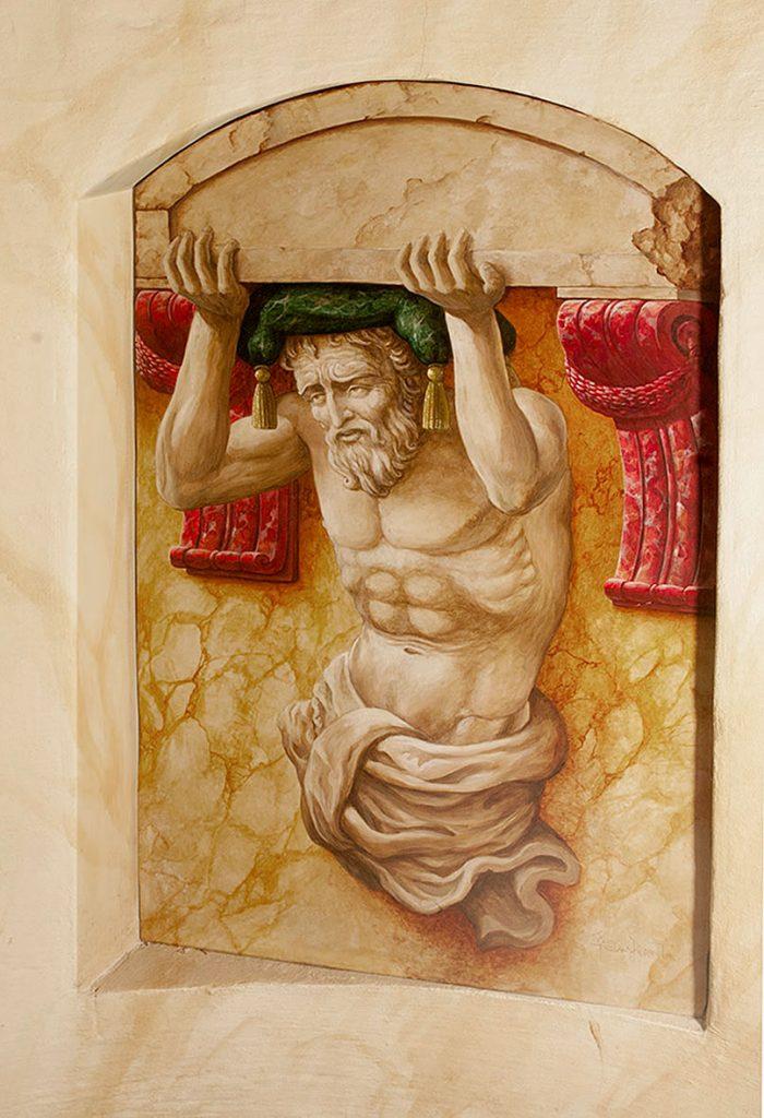 Atlante peint en trompe-l'œil dans l'Escalade d'Illusions à la Maison Kammerzell. Fresque de Roland Perret. illusions-murales.com