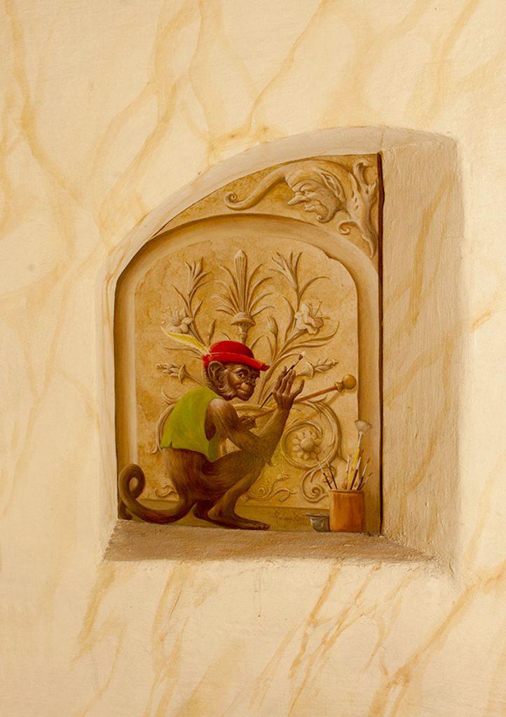 Singe peint en trompe-l'œil dans l'Escalade d'Illusions à la Maison Kammerzell. Fresque de Roland Perret. illusions-murales.com