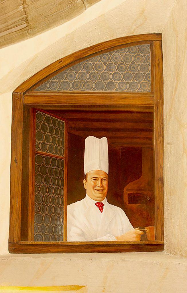 Guy-Pierre Baumann peint en trompe-l'œil dans l'Escalade d'Illusions à la Maison Kammerzell. Fresque de Roland Perret. illusions-murales.com