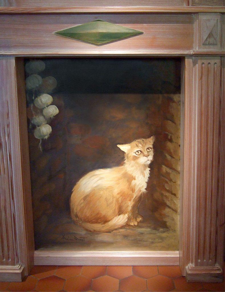 Chat dans la cheminée. Décor du restaurant le Cheval noir à Kilstett. Fresques de Roland Perret  illusions-murales.com