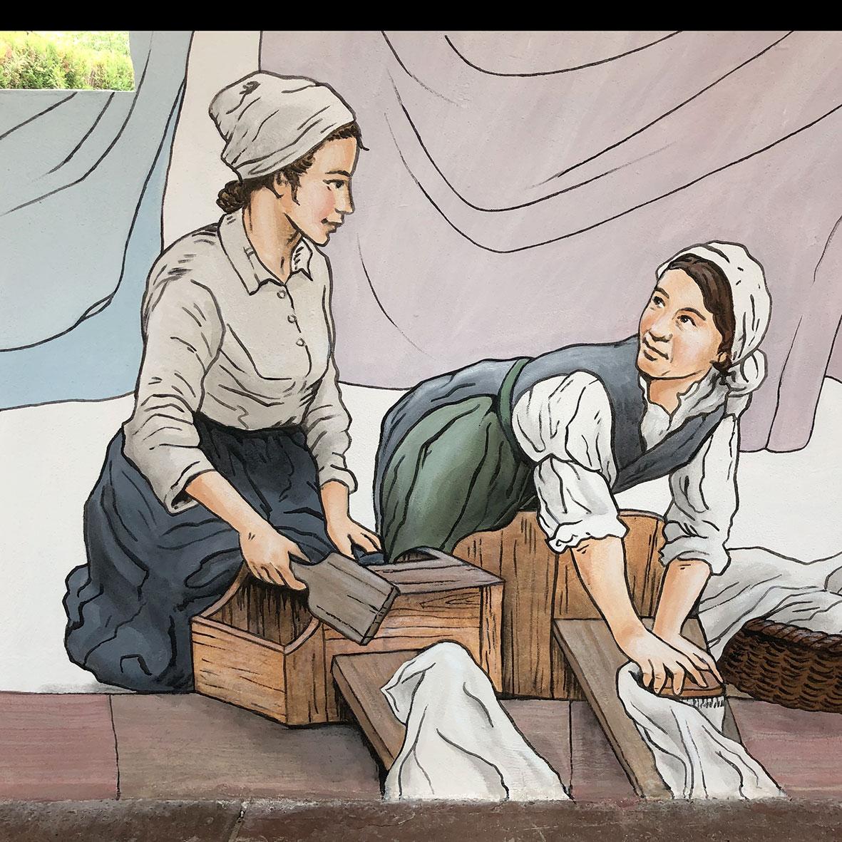 Les lavandières de la fresque du lavoir du lavoir d'Urmatt par Roland Perret et l'équipe d'illusions murales.