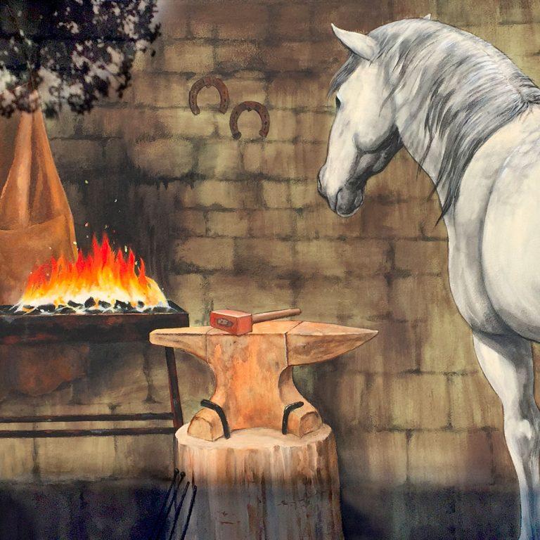 Forge à Wahlenheim. Fresque de Roland Perret et Jordane Desjardins. illusions-murales.com