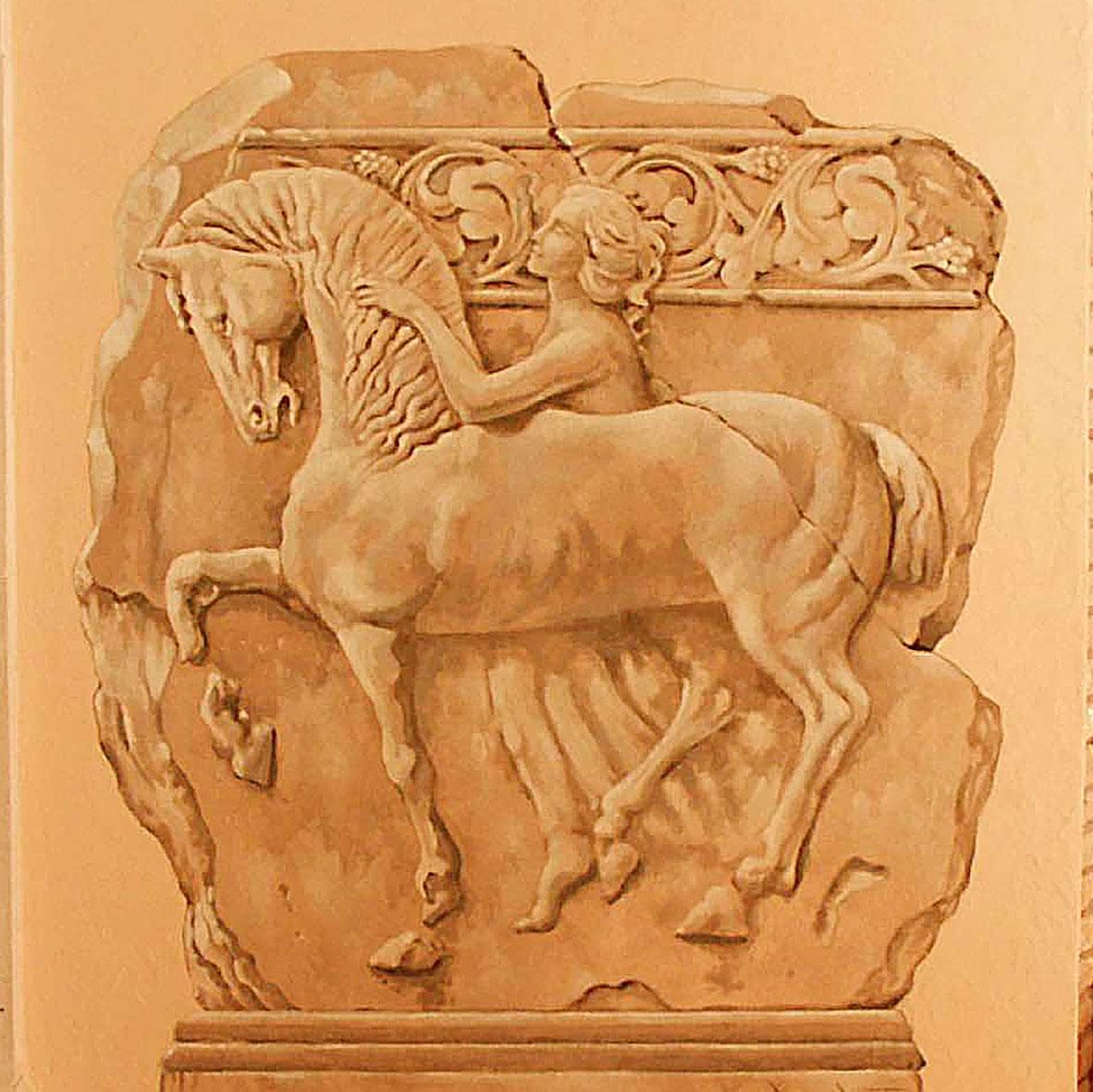 Décor en trompe-l'œil de style grec pour une piscine privée à Brumath. Fresques de Roland Perret illusions-murales.com