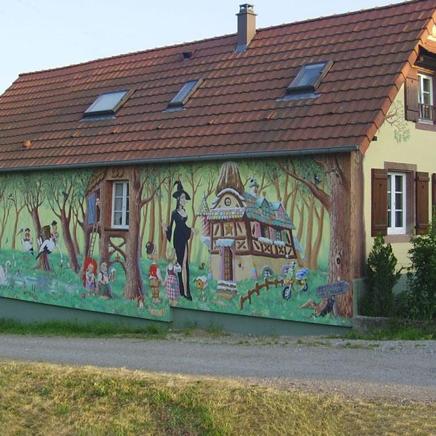 Fresque de décor Nalsace à Waltenheim sur Zorn.Fresque de Roland Perret. illusions-murales.com