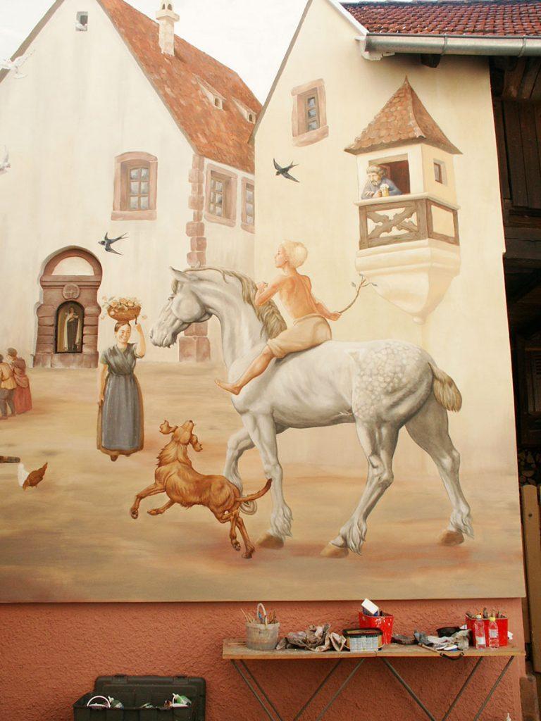Maquette.Fresque Renaissance à Hochfelden (Alsace). Fresque de Roland Perret. illusions-murales.com
