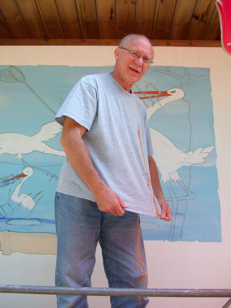 l'exploit de Patrick à Cigoland. Fresques de Roland Perret avec Sourya Perret. illusions-murales.com
