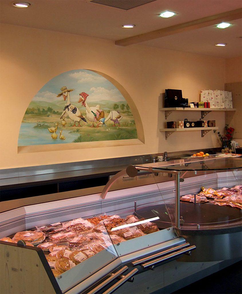 Décors d'oies pour un magasin de foie gras. Fresque de Roland Perret  illusions-murales.com