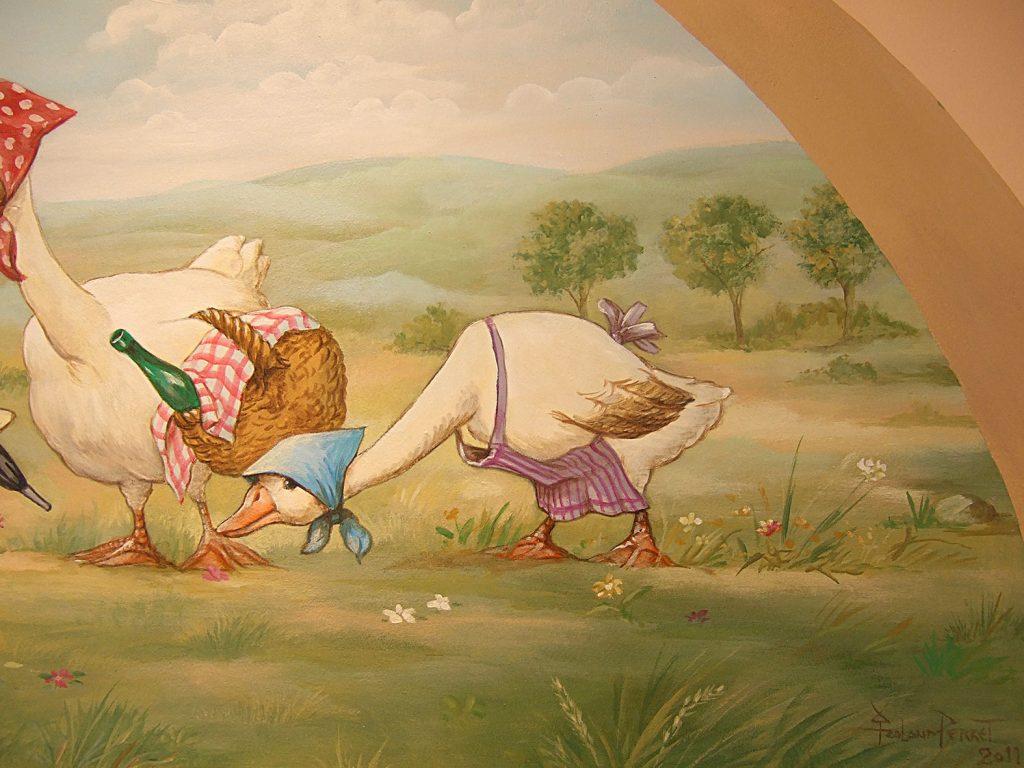 Détail du décor d'oies pour un magasin de foie gras. Fresque de Roland Perret  illusions-murales.com