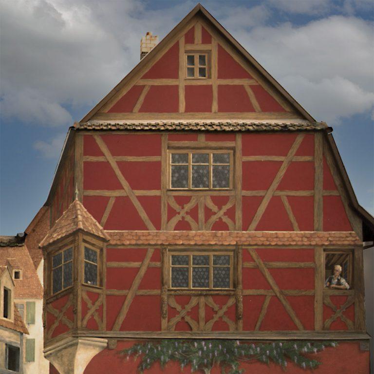 Maison Rouge à Saverne, derrière la mairie. Fresque de Roland Perret. illusions-murales.com