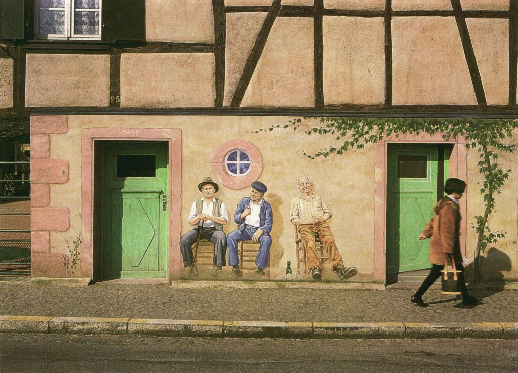 Fresque Quai Vauban à Sélestat, première version par Roland Perret