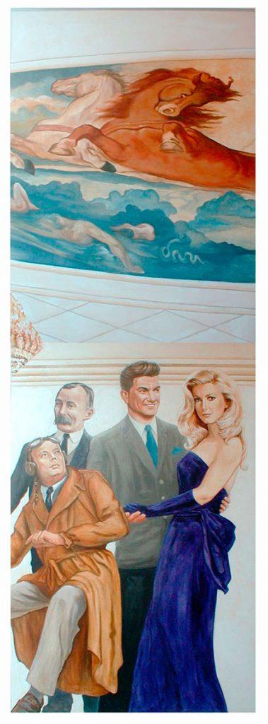Charles Pathé, St Exupéry, Jean Marais et Catherine Deneuve.. Cinéma St Exupéry à Strasbourg. Fresque de Roland Perret. illusions-murales.com