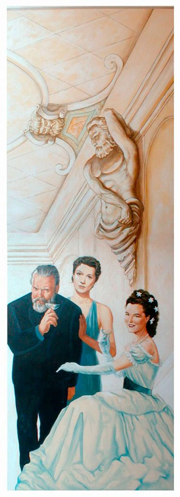 Orson Welles, Edwige Feuillère et Romy Schneider. Cinéma St Exupéry à Strasbourg. Fresque de Roland Perret. illusions-murales.com