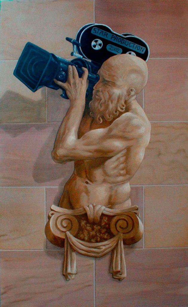 Atlante en trompe-l'œil avec une caméra. Cinéma St Exupéry à Strasbourg. Fresque de Roland Perret. illusions-murales.com
