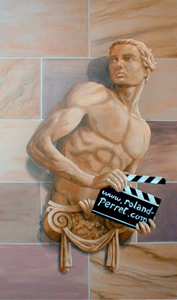 Atlante en trompe-l'œil avec un clip de cinéma. Cinéma St Exupéry à Strasbourg. Fresque de Roland Perret. illusions-murales.com