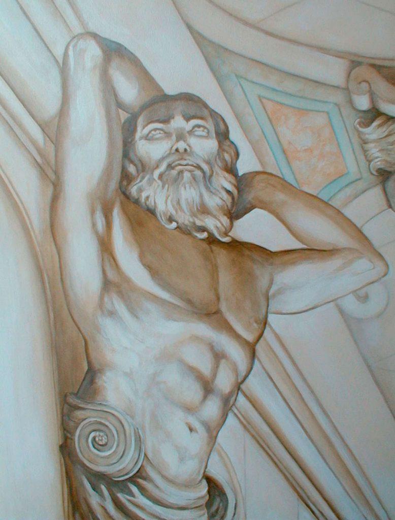 Atlante du plafond en trompe-l'œil. Cinéma St Exupéry à Strasbourg. Fresque de Roland Perret. illusions-murales.com
