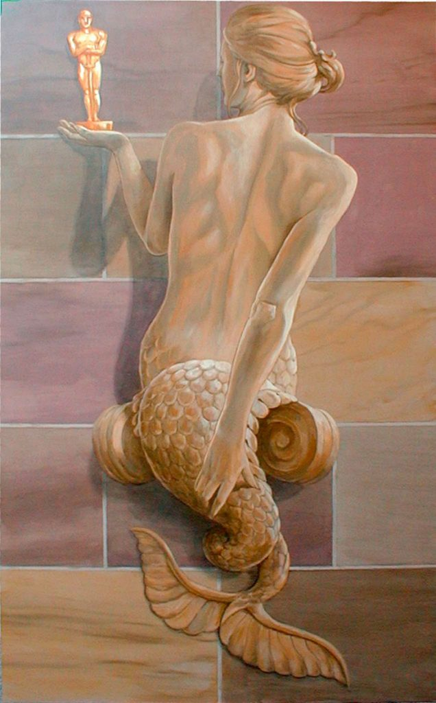 Cariatide en trompe-l'œil de grès. Cinéma St Exupéry à Strasbourg. Fresque de Roland Perret. illusions-murales.com
