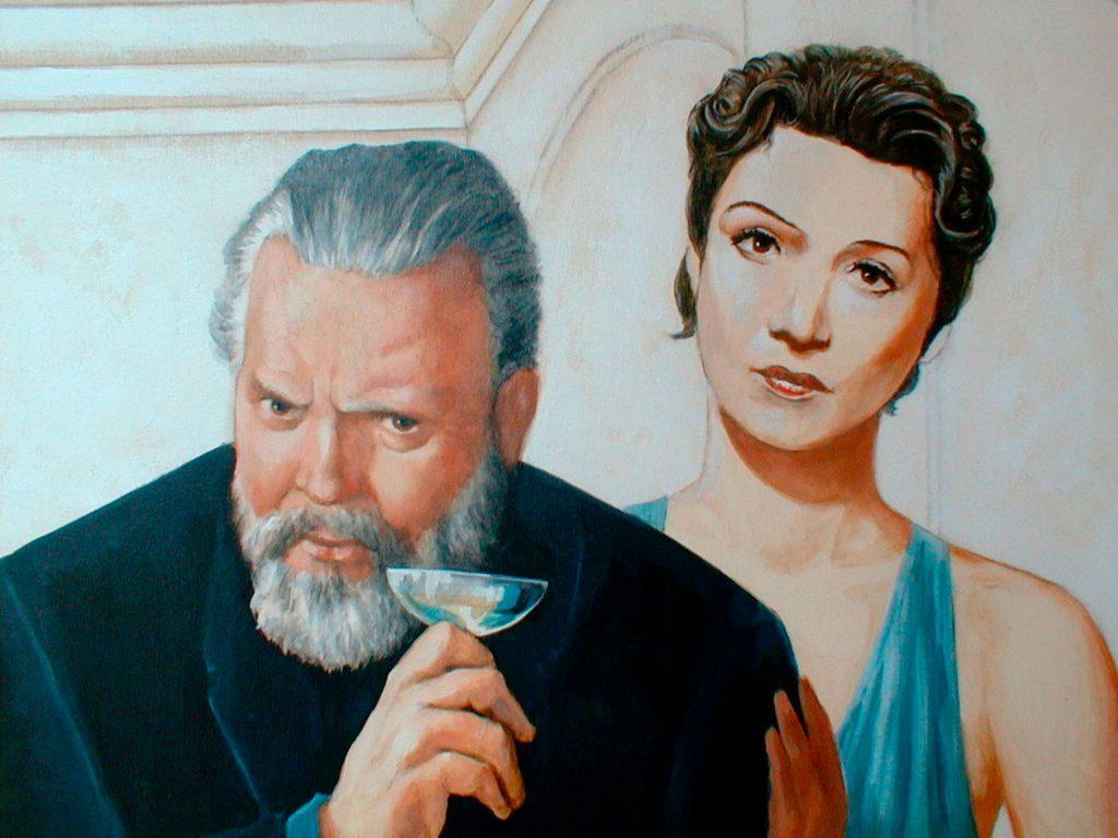 Orson Welles et Edwige Feuillère. Cinéma St Exupéry à Strasbourg. Fresque de Roland Perret. illusions-murales.com