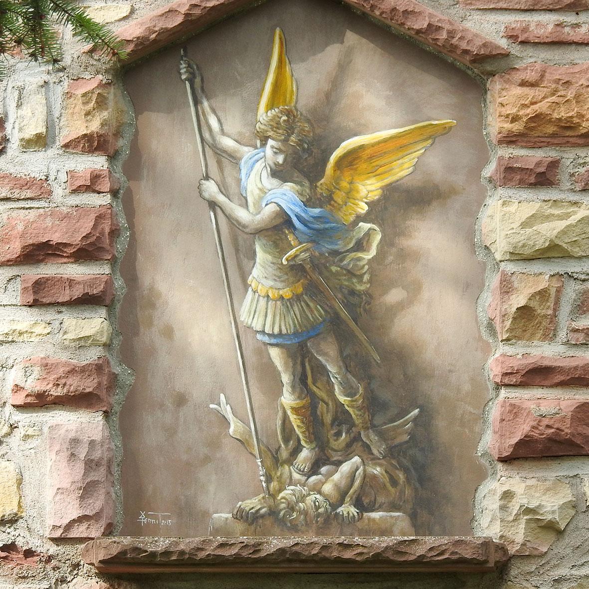 Trompe-l'oeil , St Michel, chapelle d'Egersheim. Fresque de Roland Perret. illusions-murales.com