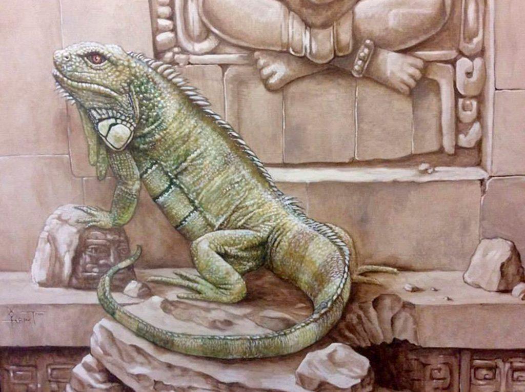 Détail du mur avec l'iguane et le Quetzacoatl de la fresque aztèque de la chocolaterie Stoffel à Ribeauvillé. Fresque de Roland Perret. illusions-murales.com