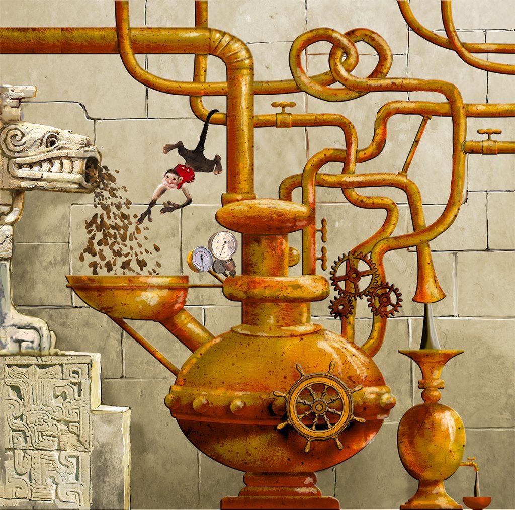 Maquette pour une fresque à la chocolaterie Stoffel à Ribeauvillé. Fresque de Roland Perret. illusions-murales.com
