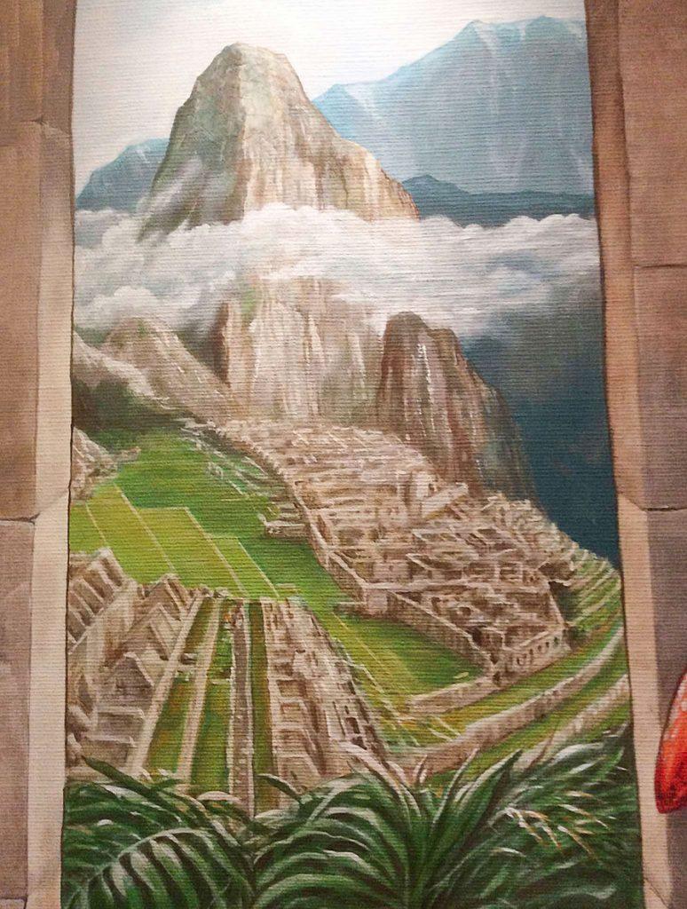 Détail de la fausse porte dans la fresque aztèque de la chocolaterie Stoffel à Ribeauvillé. Fresque de Roland Perret. illusions-murales.com