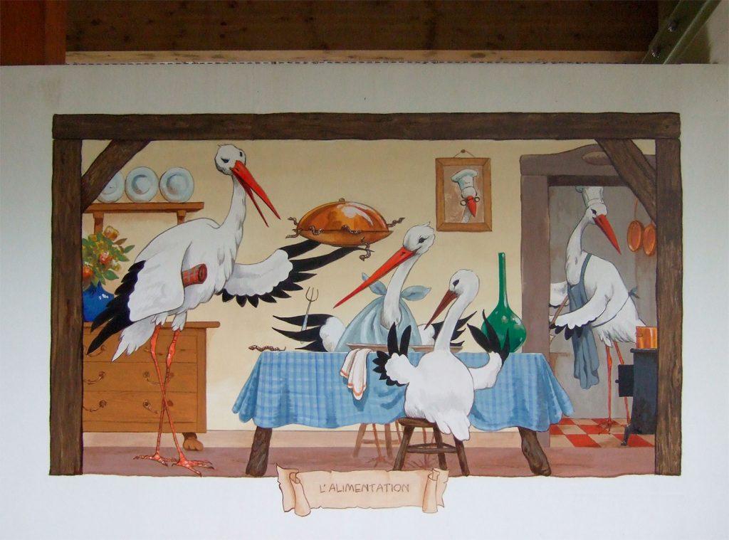 Alimentation des cigognes. Décors à Cigoland. Fresques de Roland Perret  illusions-murales.com