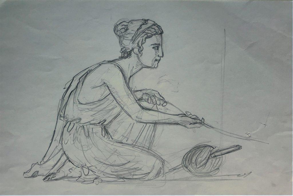Dessin d'Ariane pour le Minotaure, la cafétéria pour les étudiants de Strasbourg. Fresque de Roland Perret  illusions-murales.com