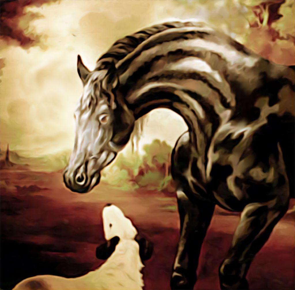 """Détail du cheval du décor du restaurant """"le Cheval noir """"à Kilstett. Fresques de Roland Perret  illusions-murales.com"""